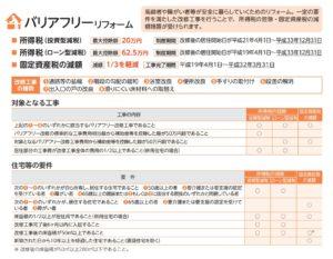 バリアフリーリフォームの確定申告における控除について